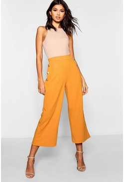 Womens Mustard Gold Button Wide Leg Culottes
