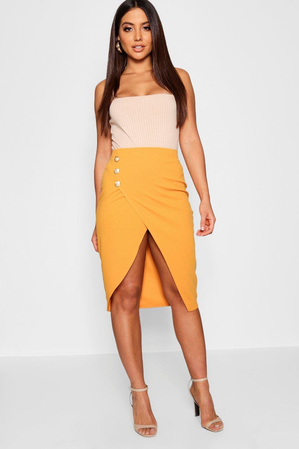6c1c86c0e3 Womens Mustard Gold Button Asymetric Split Front Midi Skirt. Hover to zoom