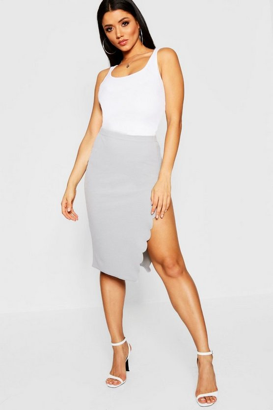 Grey Scallop Trim Split Midi Skirt