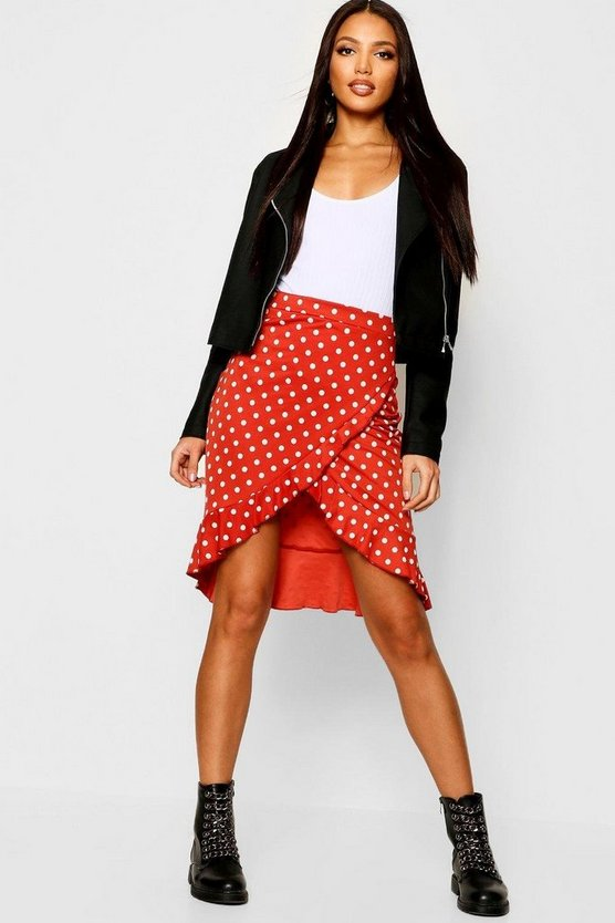 Wrap Ruffle Polka Dot Midi Skirt