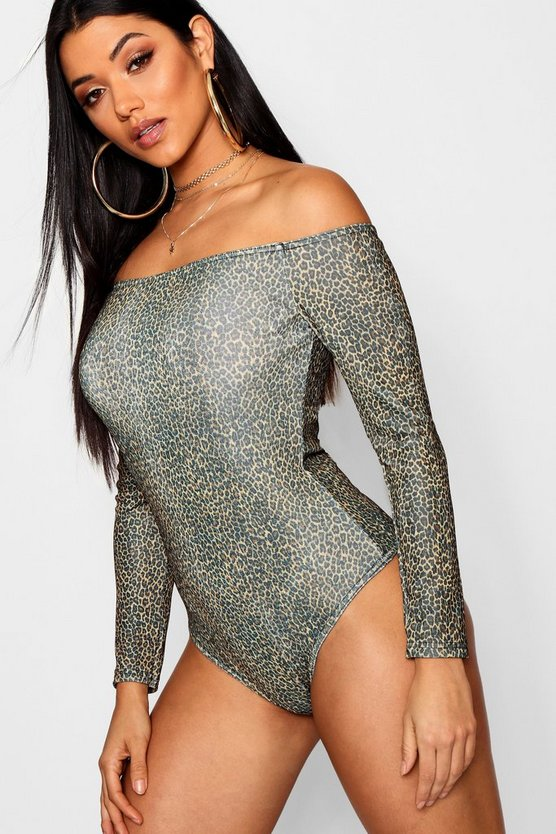 Leopard Slinky Off The Shoulder Bodysuit