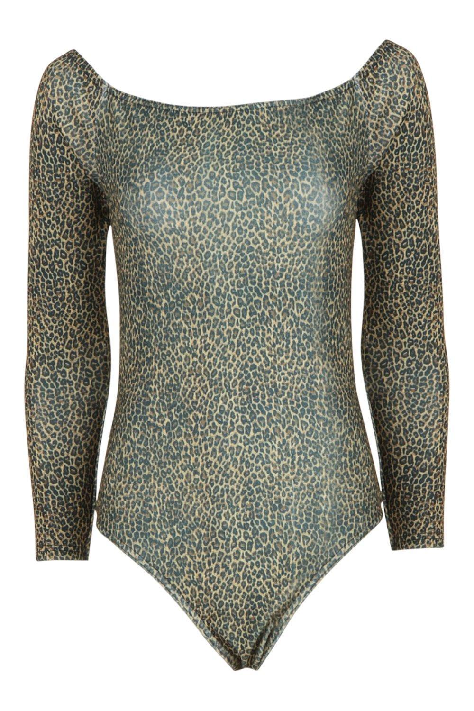 Slinky The brown Off Shoulder Leopard Bodysuit xzwdfqYwT