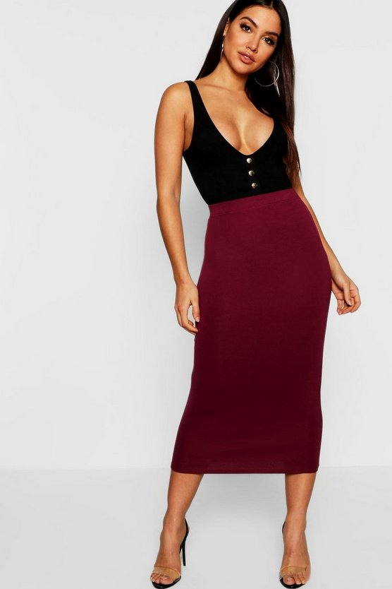 Womens Wine Fitted Midaxi Skirt