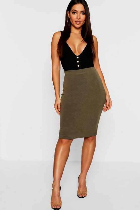 Womens Khaki Ribbed High Waist Midi Skirt