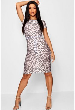Womens Stone Leopard Belted Tailored Midi Dress