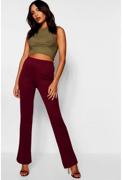 Womens Wine Skinny Flared Trousers