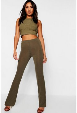 Womens Khaki Ribbed Skinny Flared Trousers