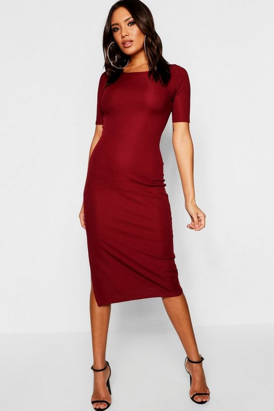 Ribbed Side Split Midaxi Dress