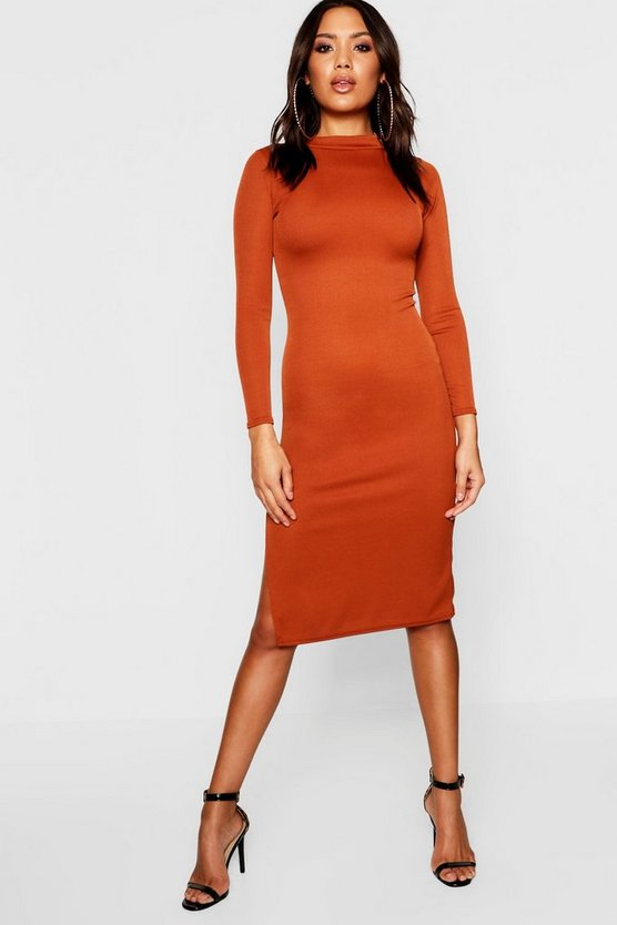 Womens Rust High Neck Ribbed Midi Dress