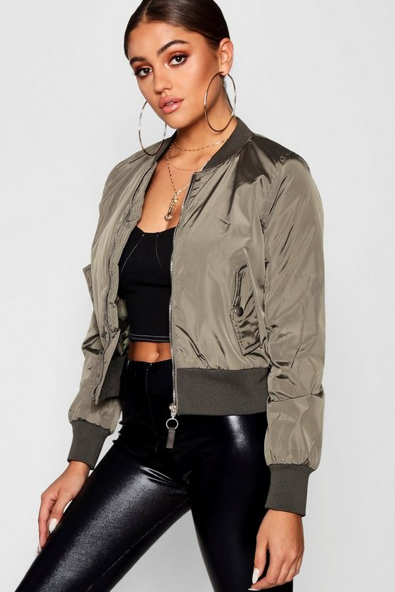 Zip Through Bomber Jacket