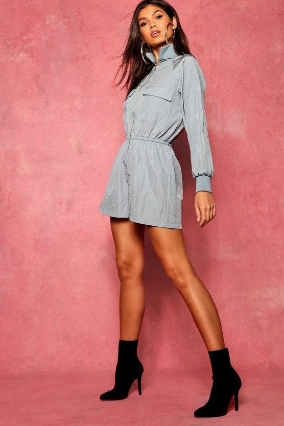 Utility Cargo Pocket Boiler Shellsuit Playsuit