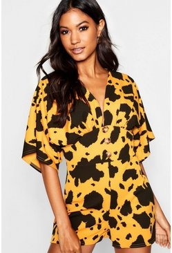 Womens Mustard Giant Leopard Kimono Sleeve Horn Button Playsuit