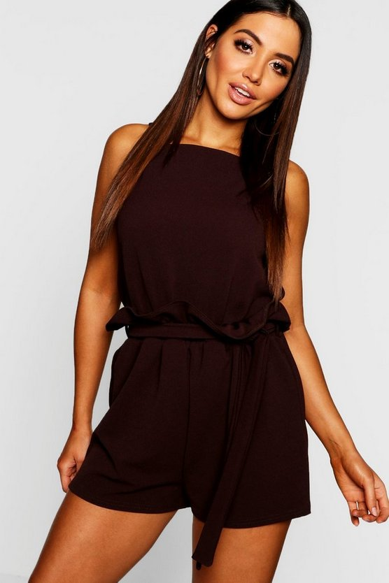 Paper Bag Waist 2 In 1 Playsuit