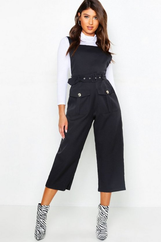 Womens Black Belted Utility Cargo Pocket Pinafore Jumpsuit