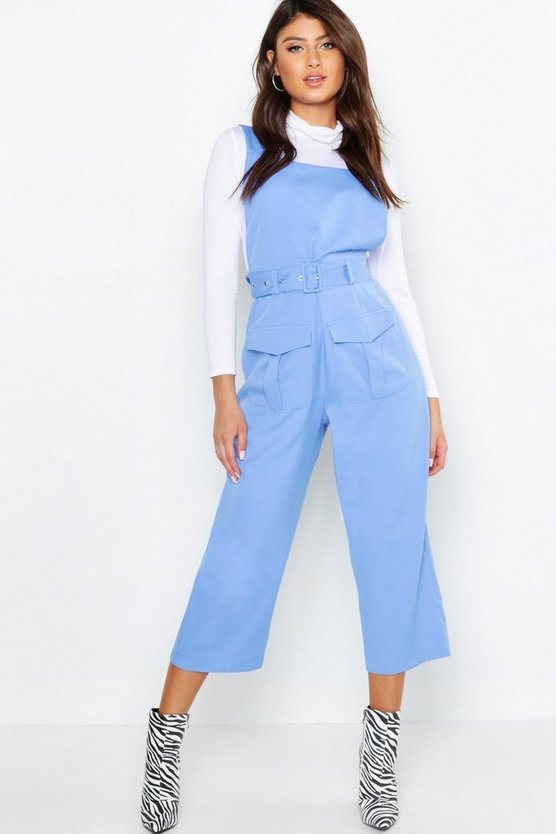 Womens Blue Belted Utility Cargo Pocket Pinafore Jumpsuit
