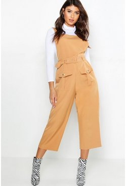 Womens Camel Belted Utility Cargo Pocket Pinafore Jumpsuit
