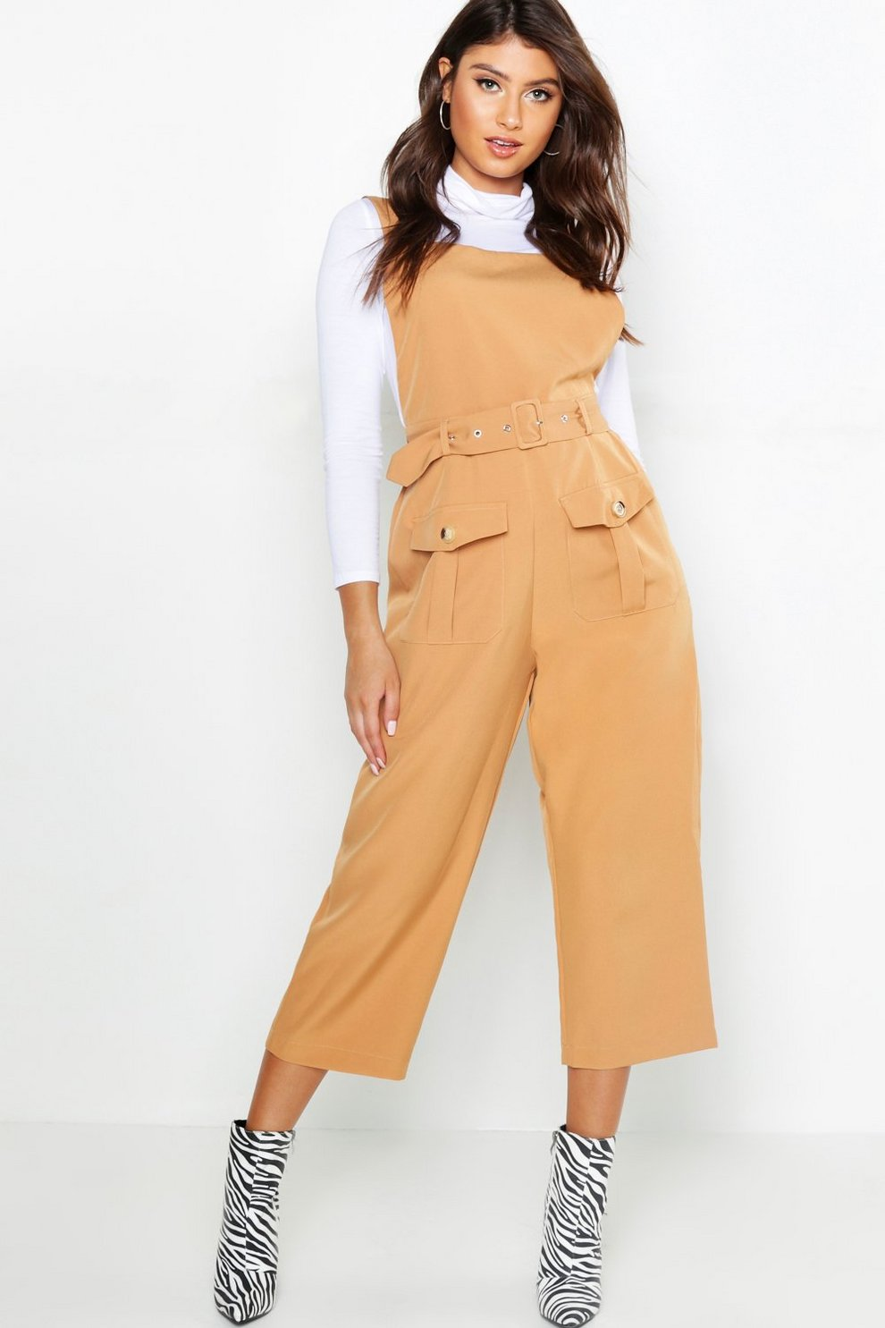 eda2ac26c52 Belted Utility Cargo Pocket Pinafore Jumpsuit