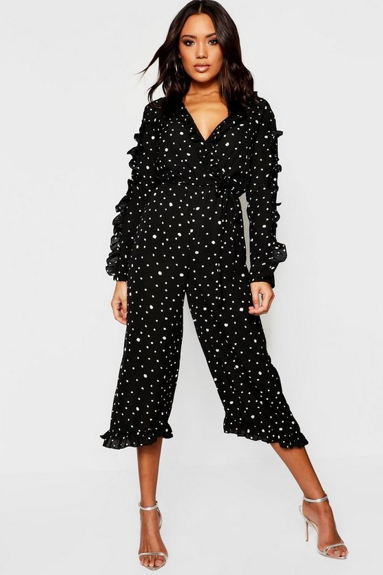 Polka Dot Ruffle Wrap Jumpsuit