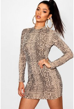 Womens Mocha Snake Print Roll Neck Mini Dress