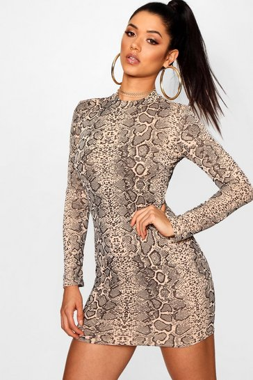 Mocha Snake Print Roll Neck Mini Dress