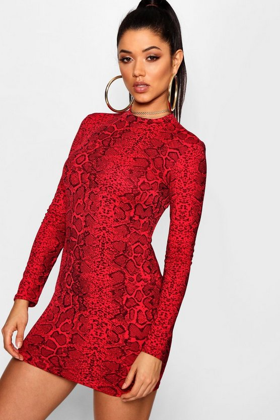 Womens Red Snake Print Roll Neck Mini Dress