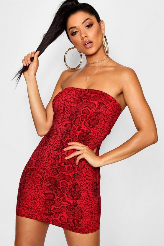 Snake Print Bandeau Bodycon Dress