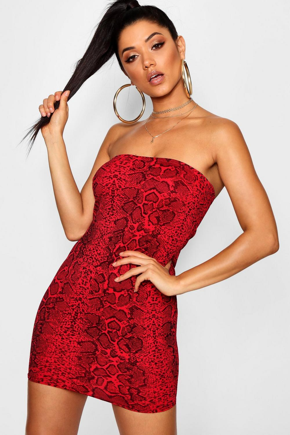 1d086a6d55 Womens Red Snake Print Bandeau Bodycon Dress. Hover to zoom