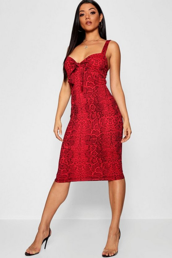 Womens Red Snake Print Skinny Strap Midi Dress