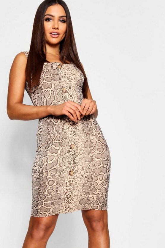 Snake Print Button Through Midi Dress