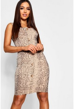 Womens Mocha Snake Print Button Through Midi Dress
