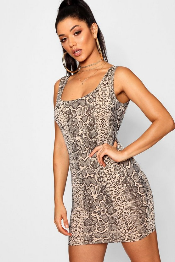 Womens Mocha Snake Print Bodycon Mini Dress