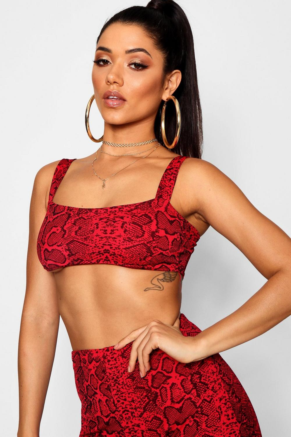red Snake Strap Crop Print Top Skinny OSqXF