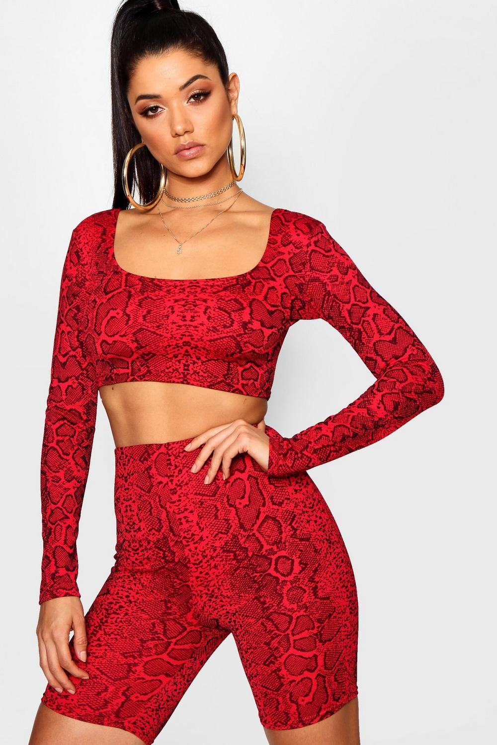 Square Crop Neck Top Snake Print red 4xqwBCgg5