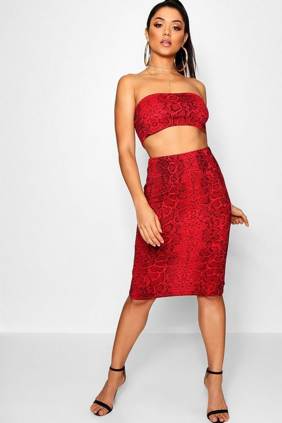 Ensemble jupe midi et top bandeau imprimé serpent