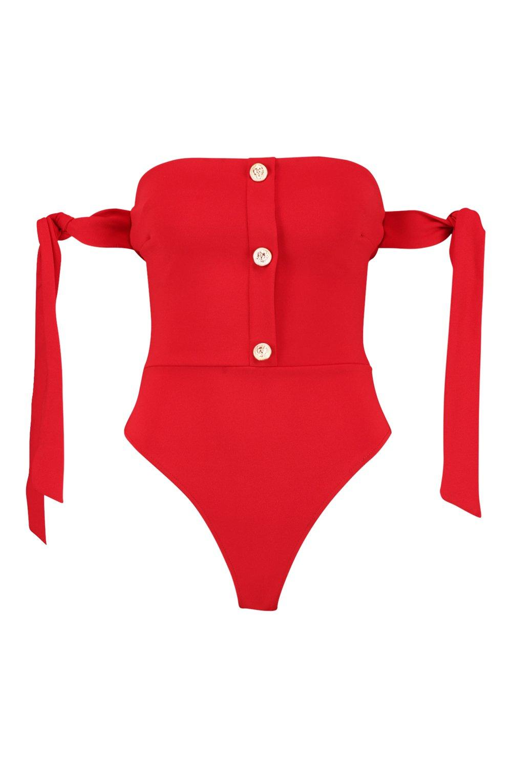 red Bardot Detail Button Bodysuit Detail Button qnEvXxnt