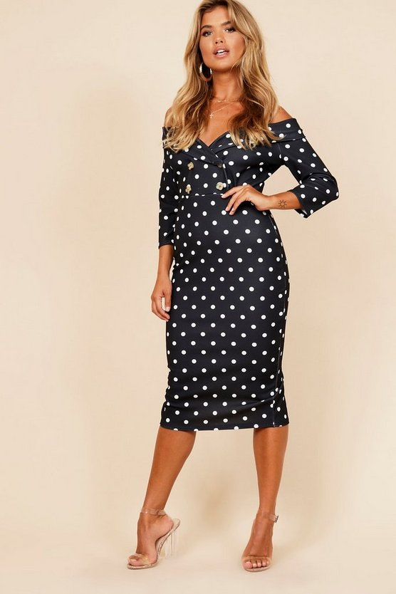 Button Detail Bardot Tuxedo Midi Dress
