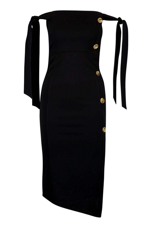 Midi Tie Dress Button Sleeve Detail cSYrqWYz8t