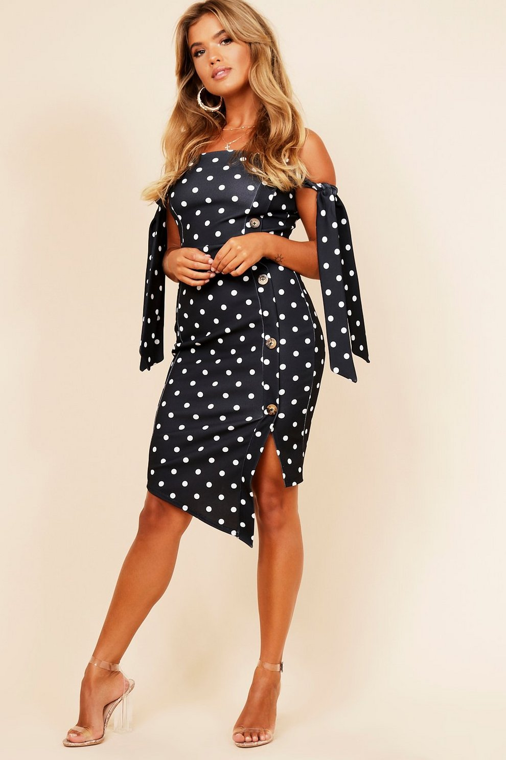 7babf551913 Tie Sleeve Polka Dot Button Midi Dress