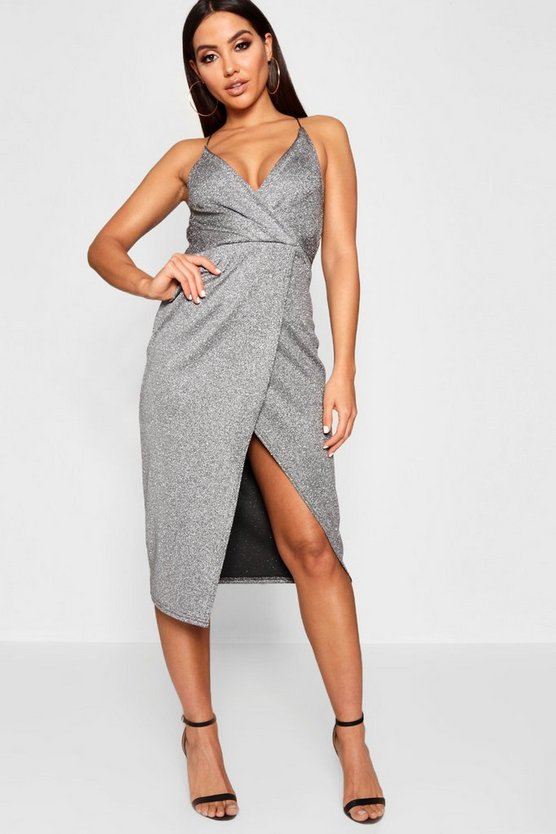 Womens Silver Strappy Metallic Wrap Midi Dress
