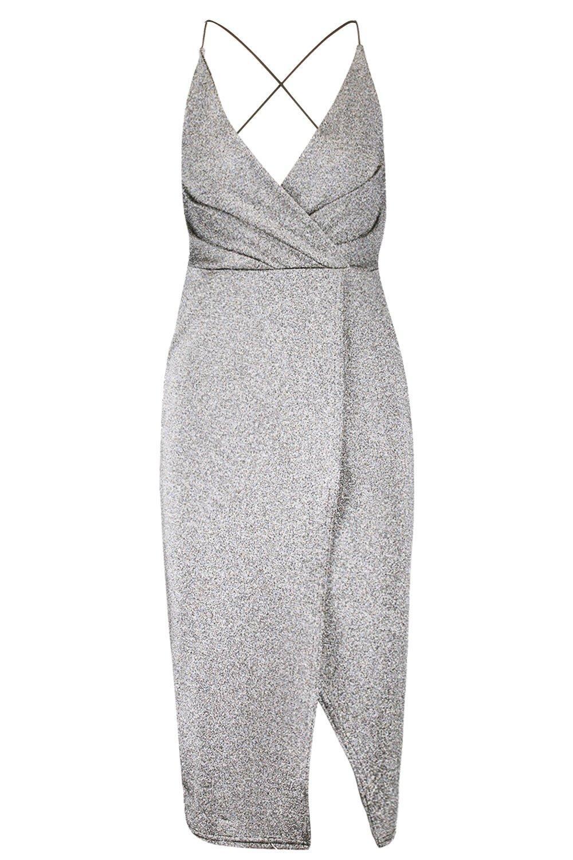 Wrap Strappy Strappy Dress Metallic Metallic Midi 5YFtq
