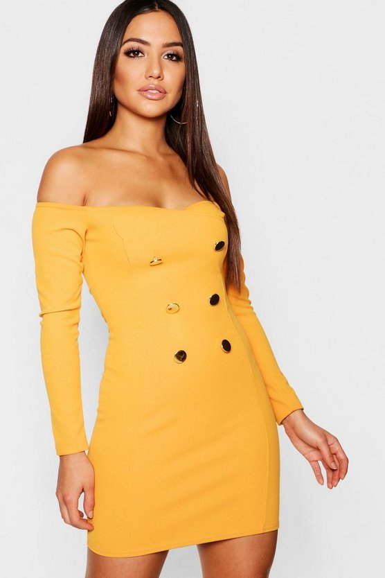 Off The Shoulder Button Detail Bodycon Dress