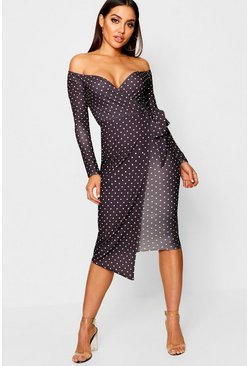 Womens Black Off The Shoulder Polka Dot Wrap Midi Dress