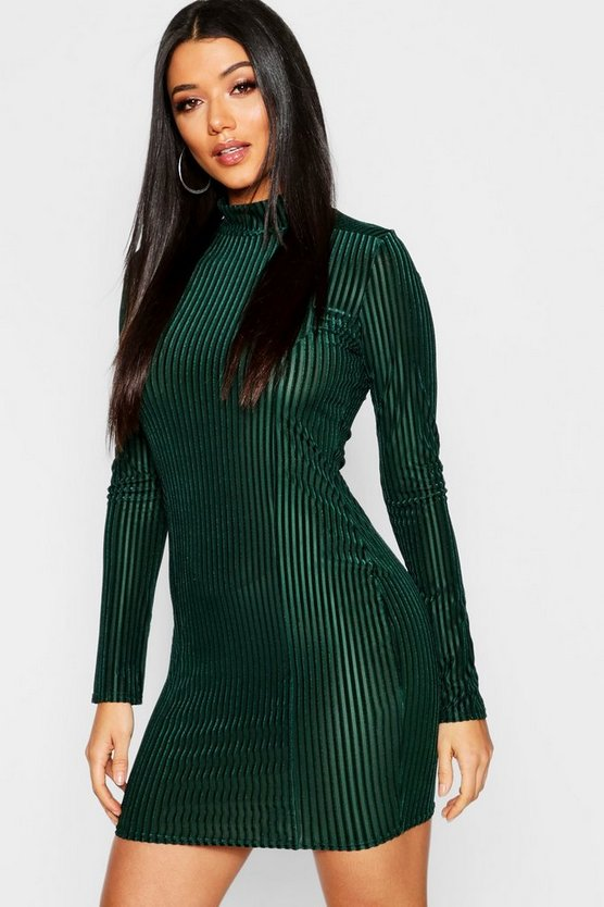 Womens Green Ribbed Velvet Long Sleeve Bodycon Dress