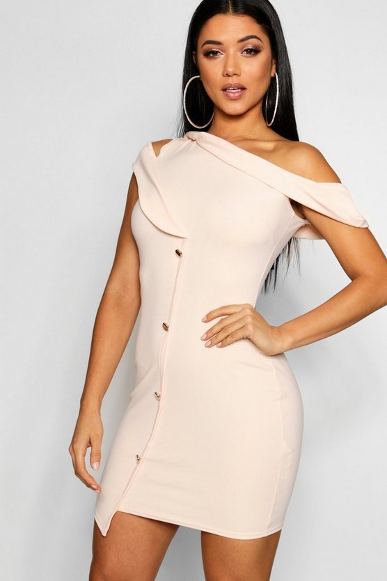 Button Off The Shoulder Blazer Bodycon Dress