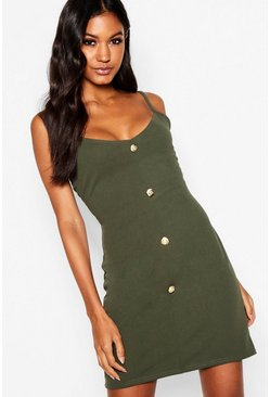Womens Khaki Button Detail Mini Dress