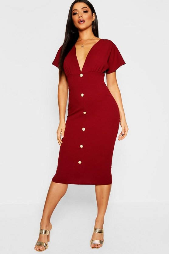 Womens Berry Plunge Neck Button Detail Midi Dress