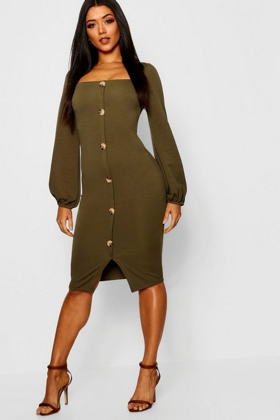 Square Neck Button Detail Midi Dress
