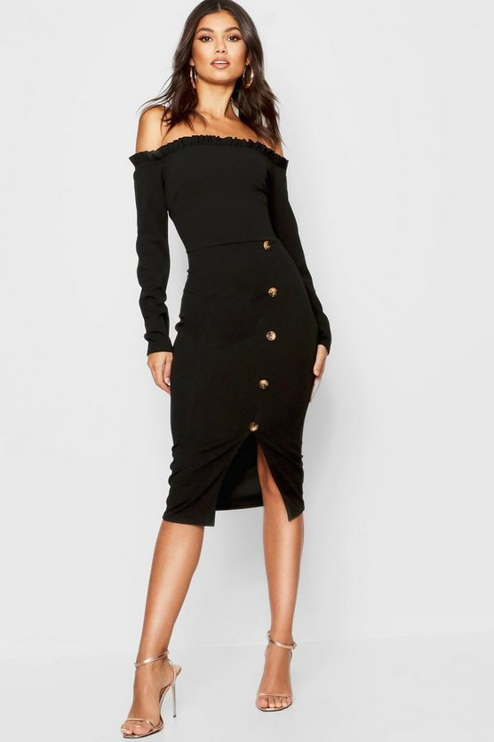 Womens Black Off The Shoulder Button Detail Midi Dress