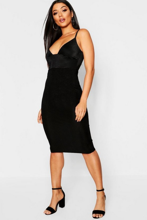 Womens Black Velvet Rib Plunge Neck Midi Dress