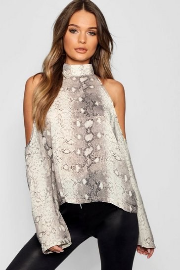 Womens Stone Snake Print Cold Shoulder Top